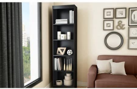 5 Shelf Narrow BookcaseMultiple Finishes BookshelfContemporary Style5 Storage SpacesBack Pnale Office FurnitureOpen Space3 Adjustable1 Fixed