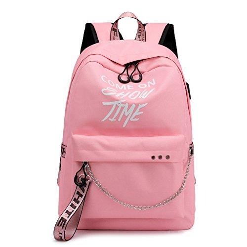 Sixinu School Bag Travel Bags Bookbag Waterproof Laptop Backpack Luminous Lyrics Print Charger USB