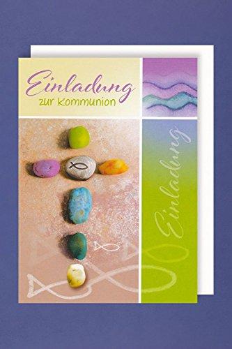 Kommunion Einladungen Karte 5er Mehrstückpackung Stein Kreuz 5 Doppel Karten 15 x 11cm