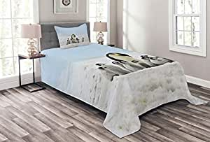Lunarable Underwater Bedspread Set Twin Size, Penguins Mom and Younger Ones Adventurous Holidays Ice Travel Print, Decorative Quilted 2 Piece Coverlet Set with Pillow Sham, Pale Blue White Grey