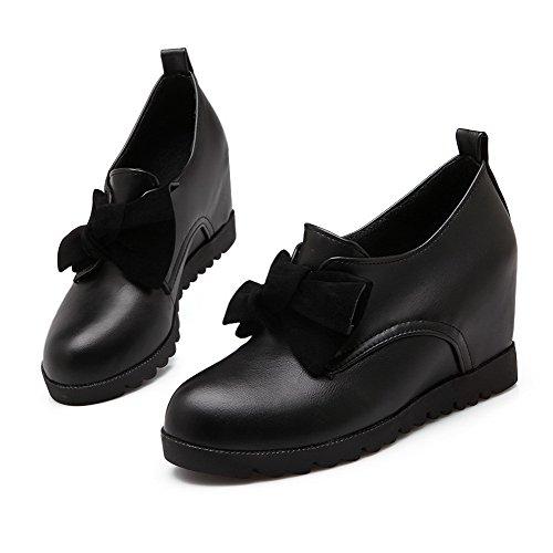 VogueZone009 Damen Weiches Material Rund Zehe Hoher Absatz Ziehen auf Rein Pumps Schuhe Schwarz