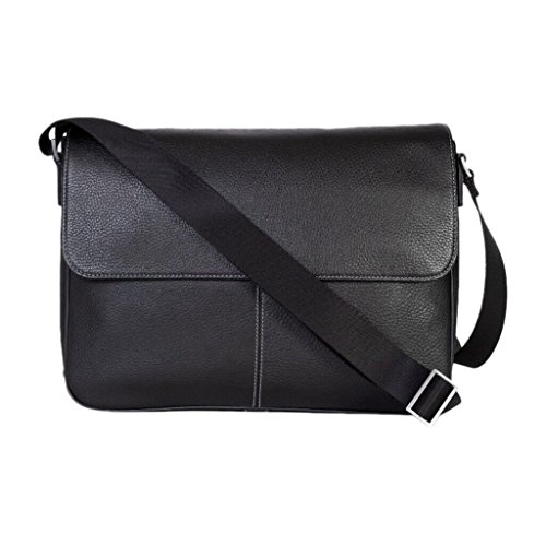 Boconi Tyler Folio Messenger (Black with Khaki) ()