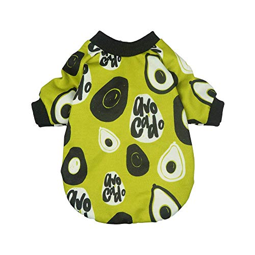 Fitwarm Avocado Pet Clothes for Dog Shirts Pullovers T-Shirts Cat Apparel Green