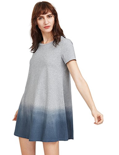 97ac582bc18c3 ROMWE Women's Tunic Swing T-Shirt Dress Short Sleeve Tie Dye Ombre Dress  Grey S