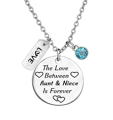 TISDA Birthstone Crystals Necklace,The Love between Aunt and Niece is Forever Necklace Family Jewelry Christmas Gift (March)
