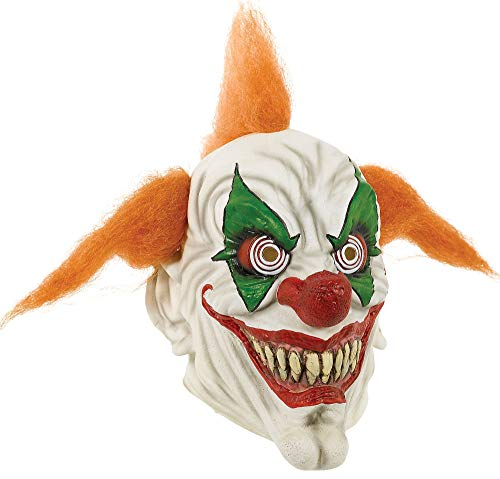 AMSCAN Orange Haired Clown Mask Halloween Costume Accessories for Adults, One Size -