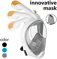 ECBUY Full Face 180° Snorkeling Mask Wide View Area Portable Snorkel Mask Seaview Underwater Diving Swimming W
