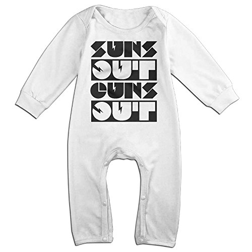 Ab Soul Costume (Baby Girls Boys Suns Out Guns Out Long Sleeve Climb Romper 18 Months White)