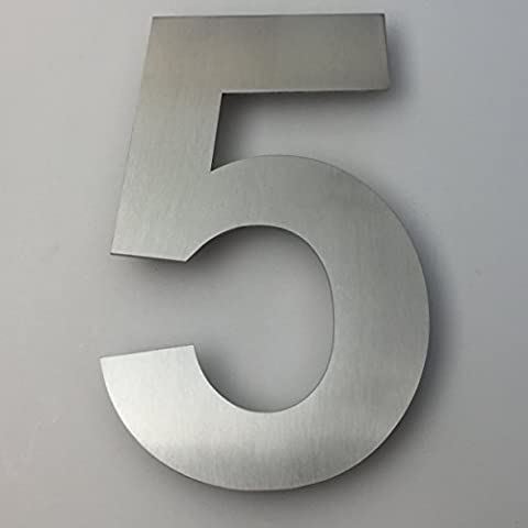 KIONA Modern Address Number Five (5) - 6 inch - Brushed Stainless Steel (Steel House Numbers)