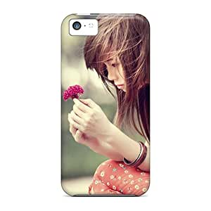 New Premium Flip Cases Covers Girl With Flower Skin Cases For Iphone 5c