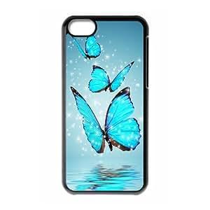 XiFu*Meiiphone 4/4s Case,Blue Butterflies Hard Shell Back Case for Black iphone 4/4s Okaycosama346551XiFu*Mei