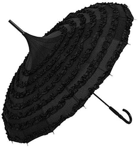 Outgeek Ladies Sunproof Umbrella Parasol Lace Flowers Pagoda-Shaped Victoria Style Long Handle - Umbrella Victorian