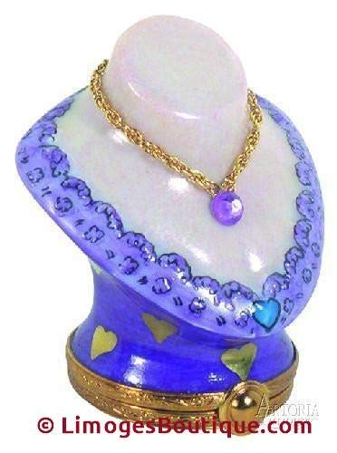 Mini Bust with Lavender Lace - French Limoges Boxes - Porcelain Figurines Collectible -