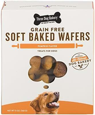 Three Dog Bakery Grain Free Wafers Baked Dog Treats, Pumpkin, 13 Oz