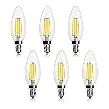 Kohree Candelabra LED Filament Bulbs Dimmable 40W Equivalent, 5000K Daylight White Chandelier LED Edison Bulb E12 Base Decorative Candle Light Bulb, ETL Listed (Pack of 6)