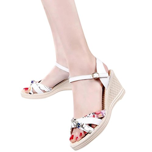 Ladies Wedges Sandals,❤️ Toponly Womens Summer Lightweight Platform Sandals Open Toe High-Heeled Shoes (US:7, White) Toddler White Combo Footwear
