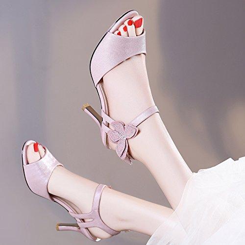 HUAIHAIZ Tacones de mujer Los zapatos de tacón alto o sandalias o zapatos de noche The pink B