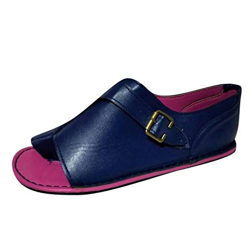 AIEason Women Sandals, Women Casual Buckle Ankle Strap Flat Heel Sandal Shoes Summer Beach Travel Shoes Dark Blue