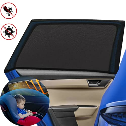 Bonilife Car Sun Shade for Baby 2 Pack UV Protection Car Window Shades for Kids/Adults/Dog Blocking Mosquito Breathable Mesh Car Sun Shade Easy Fit Suitable for Most of Cars and SUV