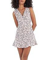Our Heritage - Women's Mini V Neck Dress with Ruffled Hem