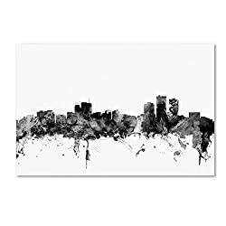 Anchorage Alaska Skyline B&w By Michael Tompsett, 22x32-inch Canvas Wall Art