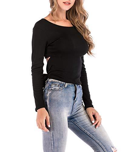 Tops Nu Printemps T Dos Shirts Longues Hauts Noir Blouse Femme Automne Jumpers Bandage Chemisier Fashion Manches Slim Rond Col Tee et ZxrZvw0q