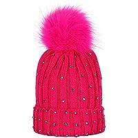 Cute Winter Children Fur Ball Knitted Wool Hemming Hat with Rhinestone Outdoor Beanie for Girls Boys White