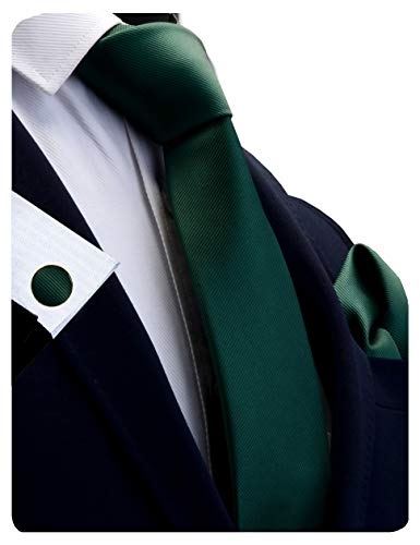 GUSLESON Brand Solid Dark Green Wedding Ties For Men Neckties and Pocket Square Cufflinks Sets(0789-02) ()
