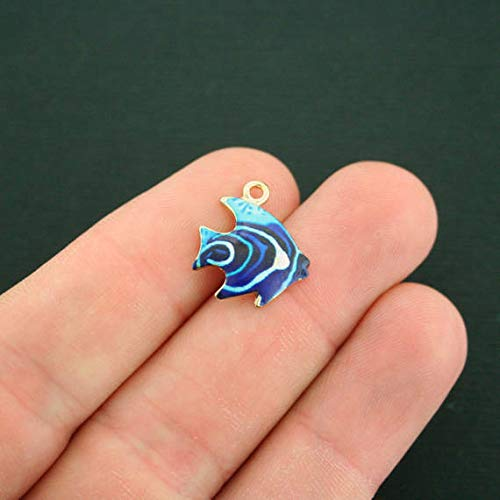 Enamel Tropical Fish Charm - 2 Tropical Fish Charm Gold Plated Enamel Fun and Colorful ODSF-1323