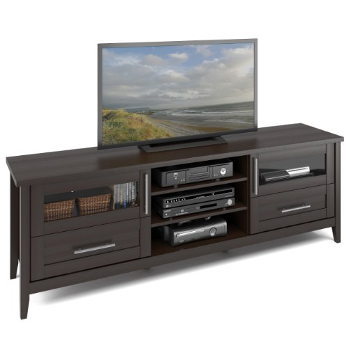 CorLiving TJK-687-B Jackson Extra Wide TV Stand Component Bench Media Storage Unit, Espresso Finish, For TVs Up To 80'' (Component Bench)