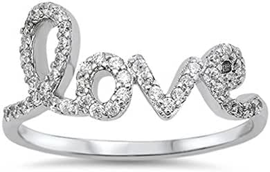 Love in Script Cubic Zirconia Ring Sterling Silver 925 (Sizes 4-10)