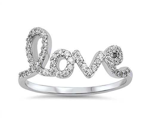[Cubic Zirconia Love in Script Ring Sterling Silver Size 8] (Love Ring)