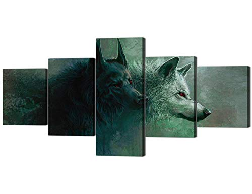 Yatsen Bridge Modern Animals Canvas Printed Wall Art Poster 5 Piece Home Decor Two Red Eyes Wolfs Painting for Living Room Decor, Gallery-Wrapped Giclee Artwork Ready to Hang - 50''W x 24''H
