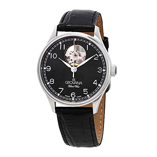 Grovana Heart View Automatic Black Dial Black Leather Ladies Watch 3190.2597