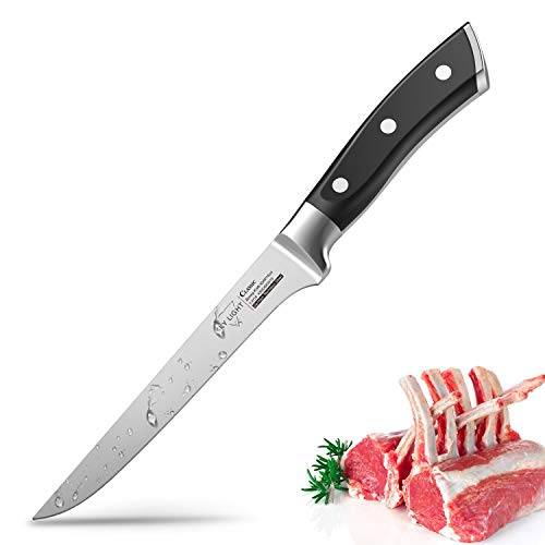 Boning Knife Flexible Fillet Knife 5.5 Inch Kitchen knife Forged Razor Sharp Blade German High Carbon Stainless Steel Cutlery with Ergonomic Handle
