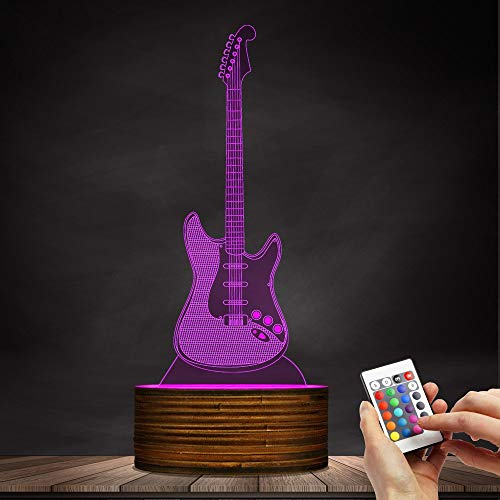 Novelty Lamp, 3D LED Lamp Optical Illusion Guitar Night Light, USB Powered Remote Control Changes The Color of The Light, Children's Friends Birthday Party, Ambient Light by LIX-XYD (Image #8)