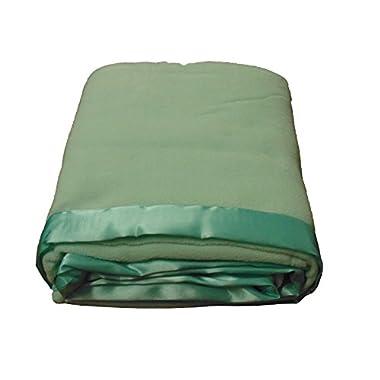 Cozy Fleece Micro Fleece Blanket with Satin Binding, Twin, Green Mist