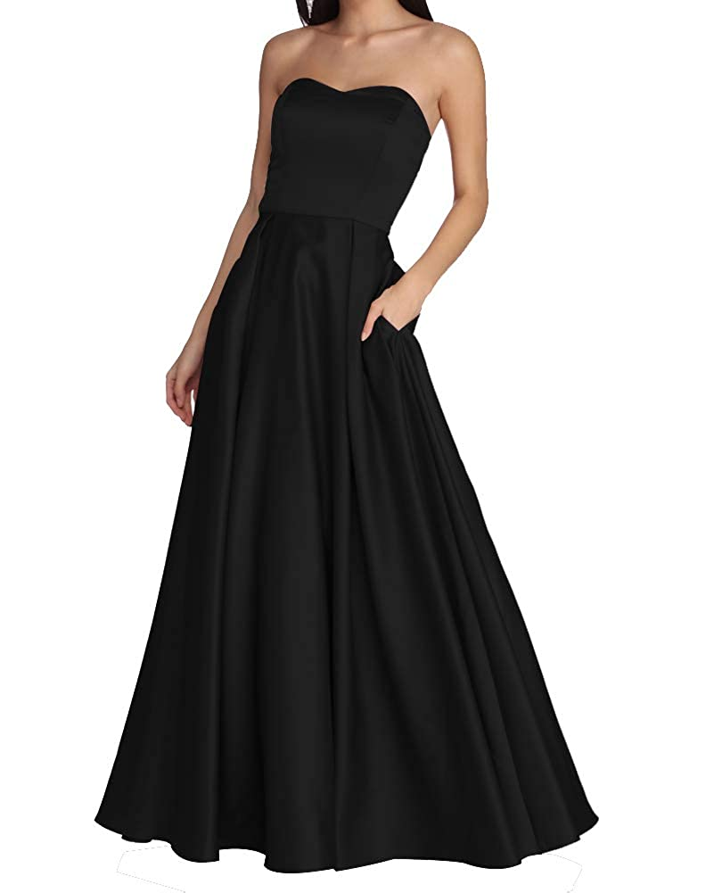 Black Women's Strapless Long Prom Dresses A Line Satin Homecoming Party Gowns with Pockets BD040