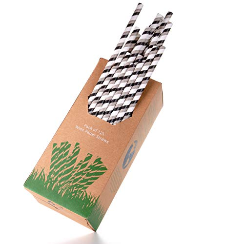 Pro Earth Sip and Slurp Wide 8mm Paper Straws, 125 Pack - Biodegradable White Kraft Paper - Classic Black and Grey Pinstripe Design