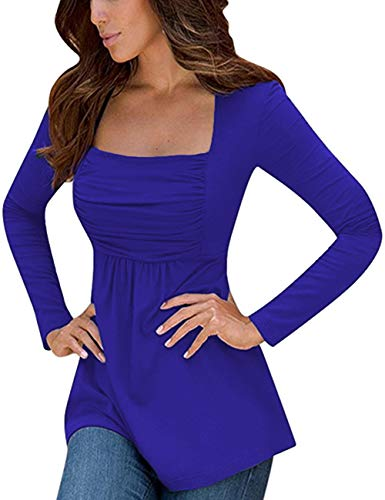 Empire Tunic Top - Yesfashion Womens Square Neck Ruched Tops Empire Waist Tunics Long Sleeve Royal Blue XL