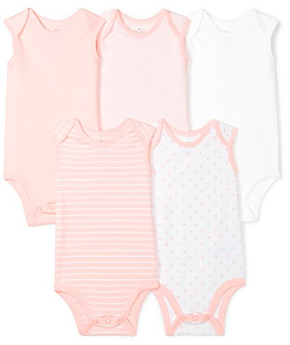 Moon and Back Baby Set of 5 Organic Sleeveless Bodysuits, Pink Blush, 6-9 Months