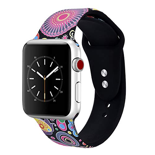 VIGOSS Compatible Apple Watch Band 42mm/44mm Women, Soft Silicone Cute Strap Floral Print iWatch Band Flower Wristbands for Apple Watch Series 4/3/2/1 Sport -