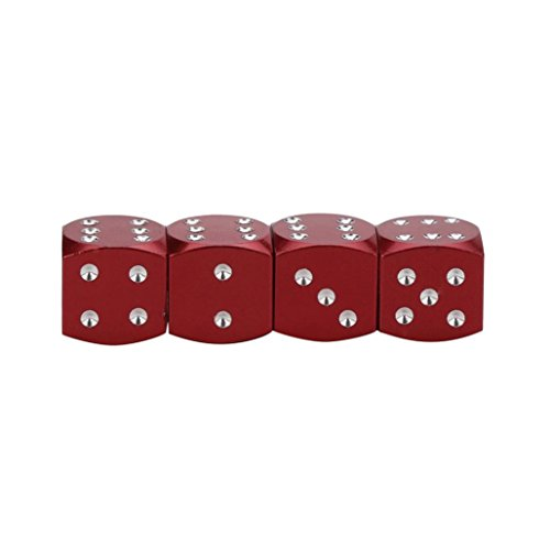 4Pc Dice Dust Valve Caps Car Motorcycles Electric Cars 80's Novelty Fun Retro,Tuscom (Red)