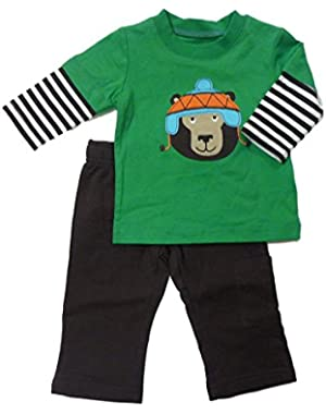 Carters Infant Boy 2 Piece Outfit Mock Layered Bear Green Baby T-Shirt Pants