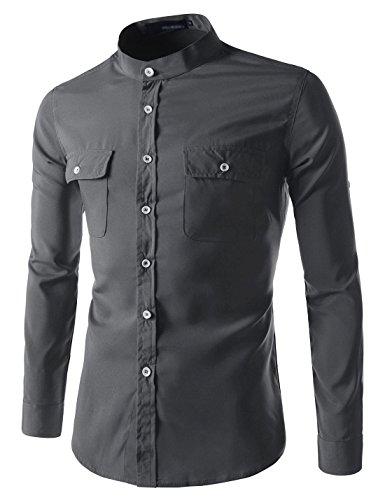 (N340) TheLees Slim Stretchy Roll Up Long Sleeve China Callar Shirts CHARCOAL MeUS XS(Tag size M) (Silk Top Mens China)