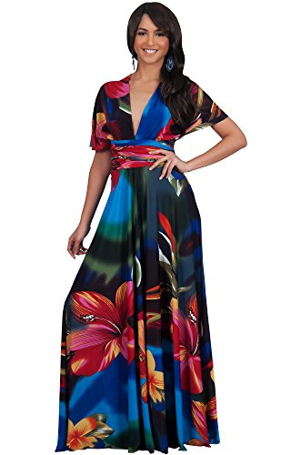 - KOH KOH Petite Womens Long Convertible Wrap Infinity Transformer Floral Print Summer Sexy Multi Way Evening Party Hawaiian Gown Gowns Maxi Dress Dresses, Blue & Red & Green S 4-6
