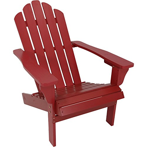 Sunnydaze Outdoor Wood Adirondack Chair, Red by Sunnydaze Decor