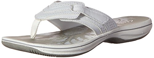 Clarks Women's Brinkley Keeley Flip Flop, White Synthetic, 7 M US
