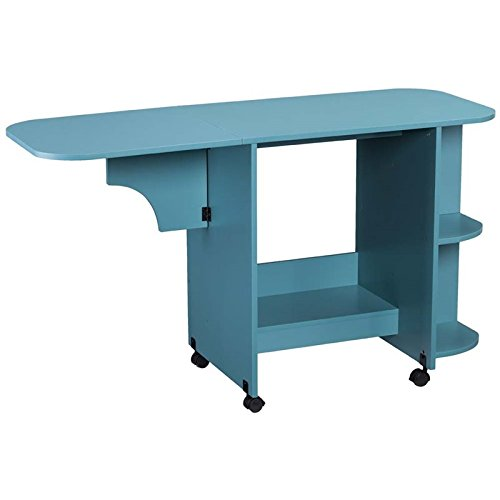 Expandable Rolling Sewing Table in Turquoise Finish by Southern Enterprises