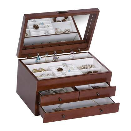 Mele & Co. Fairhaven Wooden Jewelry Box with Floral Marquetry Motif (Walnut Finish) - Jewelry Armoire Floral